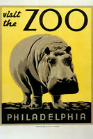 Visit The Zoo Philadelphia Hippo Vintage WPA Art Project Poster Poster - 12x18