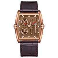 Brown Square Watch Mens Quartz Genuine Leather Wrist Watches Analog Luxury Dress