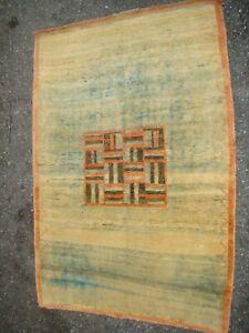 Antique Gabbeh Rug Abstract Geometric Medallion