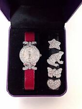 Suzanne Somers Changeable Black or Red Leather Band Watch & Charms NEEDS BATTERY