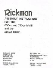 Rickman MK3 & MK4 Triumph BSA Matchless kit assembly instructions/brochure COPY
