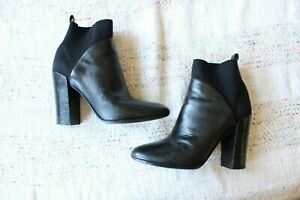 Vince Black Leather Knit Heeled Ankle Pointed Toe Boots Size 8.5M