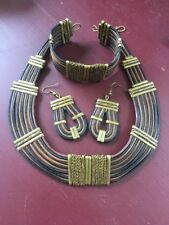 Alexis Kirk Leather, Brass & Copper Tribal Necklace, Earring & Bracelet Set