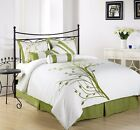 Chezmoi Collection 7-Piece Microfiber Printed Green Tree Duvet Cover Set, King