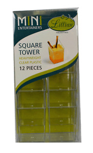 12 Ct Lillian Clear Plastic Mini Square Tower Party Snack Container Fruit Cup