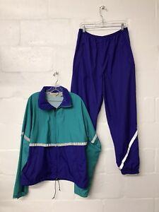 Vintage L.L. Bean Track Suit - Teal & Purple Retro Jacket & Pants Set - Large