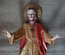 Sacred Heart of Jesus wooden Statue Glass Eyes Rare Antique for Catholic Church