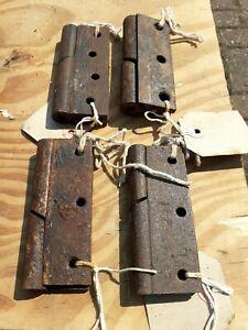 "Vintage Rising Gate Door Hinges Set 4"" old (4) sets heavy duty rare"
