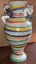"Stunning 15 3/4"" Tall San Polo Venezia Ceramic Vase Italy Harlequin Mosaic"
