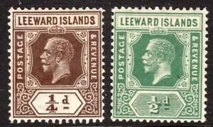 Leeward Islands 1912 brown 1/4d deep-green 1/2d multi-crown CA mint SG46/47a