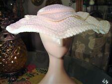 Stunning Lisette Scalloped Woven Textured Ivory Plate Hat w/ Velvet Bow!