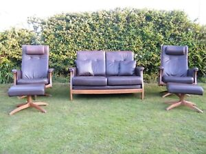 Stunning Rare Ercol 'Gina' Suite in Brown Leather