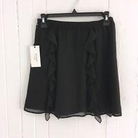 NWT Ali & Jay Womens XS Mini Ruffle Black Skirt