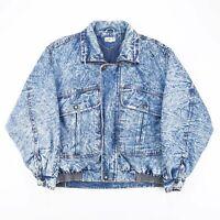 Vintage GUESS Blue Acid Wash Lined Grunge Denim Bomber Jacket Men's Size Large
