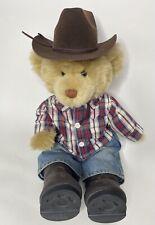 """Build A Bear BAB Cowboy Rancher Blonde Plaid Shirt Blue Jeans Boots Hat 16"""""""