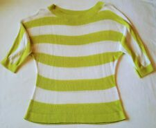 New York & Company Lime Green & White Striped Dolman Sweater 3/4 Sleeves Large L