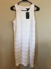 Armani Exchange Mesh Sleeveless White Midi Dress, Small, S, Lined, Poly Blend