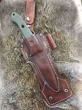 hand made leather knife sheath for Benchmade bushcrafter 162 handcrafted
