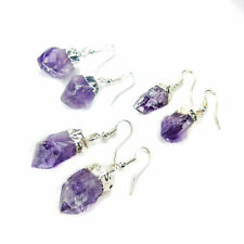 Amethyst Earrings - Purple Crystal Points - Silver Plated Raw Jewelry (LR16)