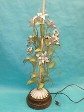 "VINTAGE 60's ITALIAN TOLEWARE PAINTED FLORAL TOLE TABLE LAMP ~ 40 ""   FABULOUS"