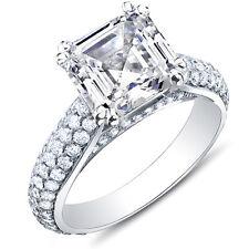3.36 Ct. Asscher Cut Micro Pave Round Cut Diamond Engagement 18K Ring F,VS1 EGL
