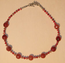Gorgeous Cherry Red and Pink Quartz, Jasper and Coral Necklace