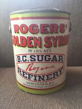 Vtg B.C. Sugar Refinery 10lb Rogers Golden Syrup Tin Can Vancouver BC Canada