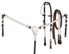 Silver Ferrule Show Set - Headstall - Reins - Breastcollar - Dark Oil Leather