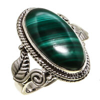Malachite Natural Gemstone 925  Sterling Silver Handmade Jewelry Ring 3 to 12