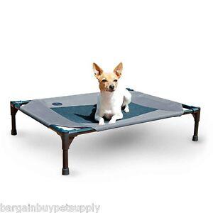 KH Mfg Pet Dog Cat Cot Indoor Outdoor Elevated Raised Waterproof Bed Medium Gray