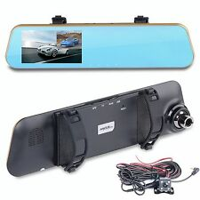 4.3'' 1080P HD Dual lens Car Rearview Recorder Camera Mirror DVR  Video Dash Cam