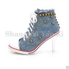Womens Punk Rock Denim Canvas Rivet High Heel Stiletto Laces up Sneaker Shoes a UK 2.5/ Euro 35 Dark Blue
