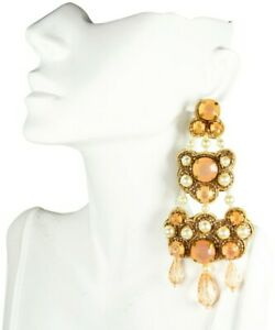TORY BURCH $178  Multi-color Clear White & Pale Pink Beaded Chandelier Earrings
