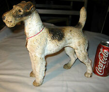 Antique Hubley Lg Fox Terrier Cast Iron Dog Art Statu 00006000 E Sculpture Doorstop Weight
