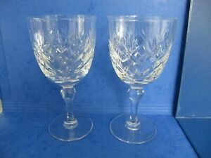 2 Crystal Cut Glass Wine Glasses - Fans and Criss-Crosses