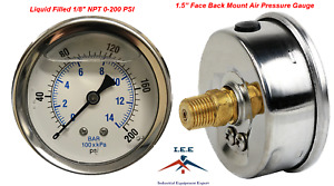 "Liquid Filled 1.5"" Face 0-200 PSI Air Pressure Gauge Back Mount 1/8"" NPT"