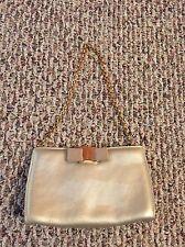Beautiful Auth Salvatore Ferragamo Small Bag Clutch With Gold Chain