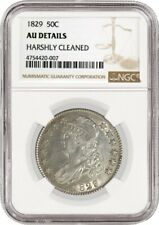 1829 50C Capped Bust Silver Half Dollar NGC AU Details Harshly Cleaned