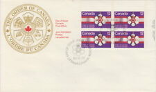 CANADA #736 12¢ ORDER OF CANADA UR INSCRIPTION BLOCK FIRST DAY COVER