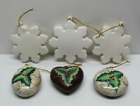 🎄 Lot of 6 Christmas Hanging Ornaments -  3 Hand-Painted Holly & 3 Snowflakes