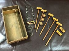 Antique Miniature Wooden Partial Table Croquet Set in Dove Tail Box Unique