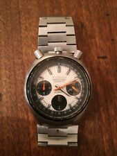Vintage FULL STAINLESS STEEL YELLOW CITIZEN BULLHEAD Chronograph watch 70'S