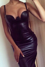 WOMENS BLACK DRESS PVC WET LOOK PADDED MIDI VINYL LEATHER BODYCON SIZE 12 & 14