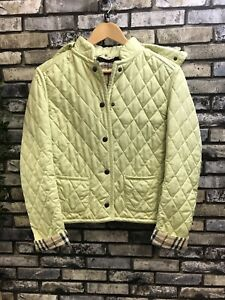 Burberry Lime Green Hooded Quilted Winter Jacket UK 8