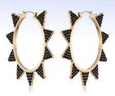 STEVE MADDEN Large Gold-Tone JET CRYSTAL Triangle Hoop EARRINGS