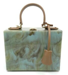 Green/Gold Marble Polished Resin Box Handbag/W Handle and Strap New