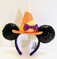 Disney Parks Halloween Minnie Mouse Ears Sequined Candy Corn Witch Headband NWT