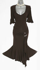 Karen Millen Brown Stretch Jersey Front Detail Short Sleeves Formal Dress sz-12