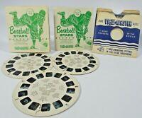 Vintage Sawyer Viewmaster Stereoscope 3 Reels, BaseBall Stars..725, 726, 727