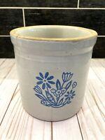 Vintage Stoneware Pottery Crock  Blue Flowers 1 Gallon Country Farmhouse Pot USA